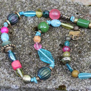 Colorful Statement Variety Necklace Glass